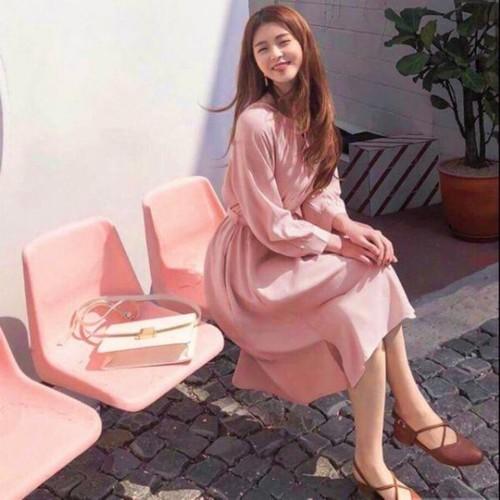 Đầm hồng xếp ly thanh lịch