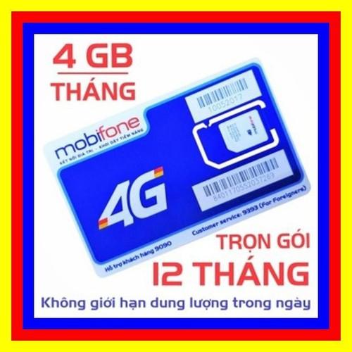 Sim 4G Mobifone Trọn Gói 1 Năm Không Nạp Tiền 4GB,Tháng - F500N