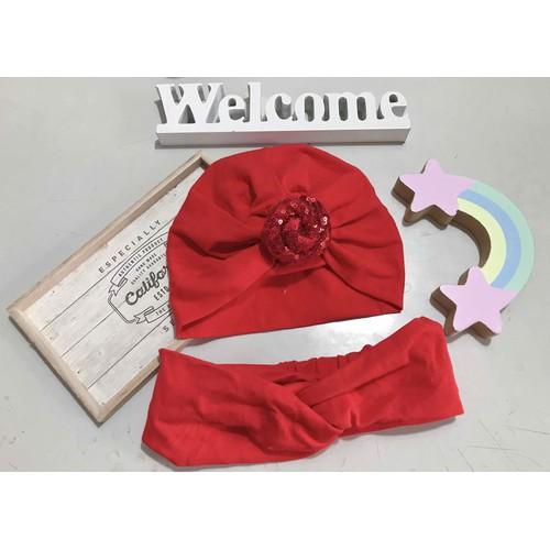 set mũ cho bé và turban cho mẹ