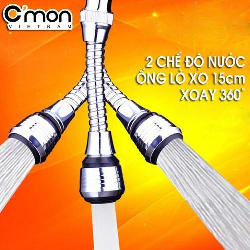 Đầu vòi rửa tăng áp điều hướng trục lò xo 15cm 360 độ với 2 chế độ nước C