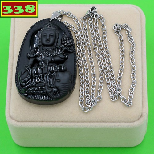 Vòng cổ Bồ tát Phổ hiền đen 6 cm DITTES2 kèm hộp nhung - Hộ mệnh tuổi Thìn, Tỵ - Phù hợp cho nam