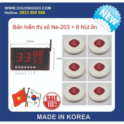Bộ Thiết Bị Chuông Gọi Phục Vụ Hàn Quốc + 6 Nút Bấm Màu Trắng
