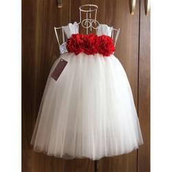 Váy tutu trắng hoa xù đỏ cho bé 1 tuổi