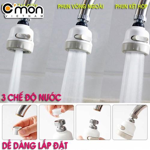 Đầu vòi tăng áp điều hướng xoay 360 độ với 3 chế độ nước Cmon DV-03