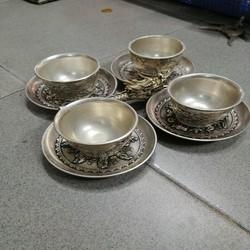 Bộ chén dĩa bạc cổ 4 chén 4 dĩa tẩu