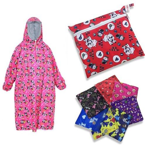 Áo mưa vải dù BIT kín 2 bên trẻ em Size 11 - họa tiết ngẫu nhiên