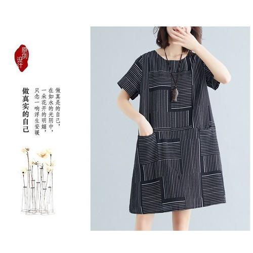 Đầm suông nữ form rộng có túi họa tiết sọc D3121