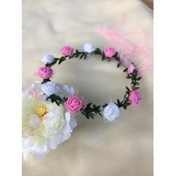 vòng hoa đội đầu cho bé trắng hồng