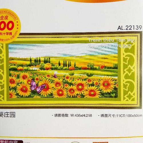 Trang thêu chữ thập vườn hoa hướng dương