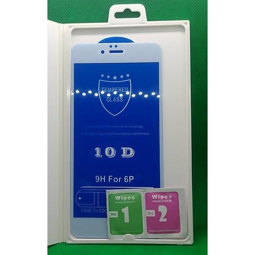 COMBO 2 Miếng dán cường lực, miếng dán bảo vệ màn hình cao cấp 10D full màn, full keo màu TRẮNG cho Apple Iphone 6, Iphone 6s