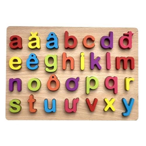 Bảng chữ cái Tiếng Việt IN THƯỜNG bằng gỗ nổi 3d cho bé