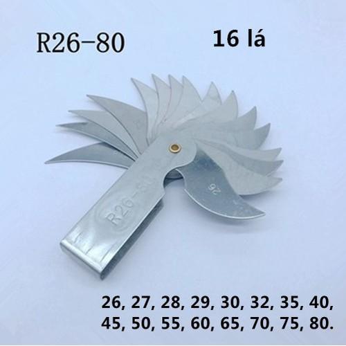 Bộ dưỡng đo bán kính 26-80mm 16 lá
