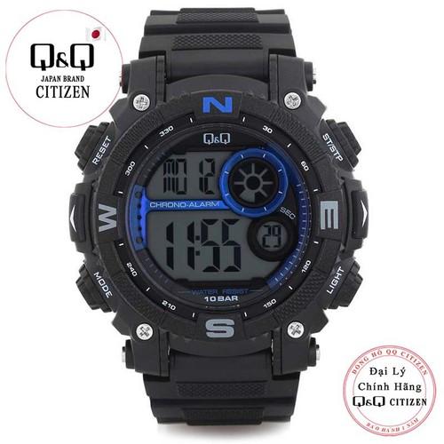 Đồng hồ điện tử nam Q&Q Citizen múi giờ kép M133J003Y  dây cao su