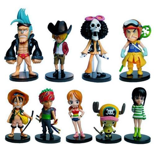 Bộ Đồ Chơi: 09 Mô Hình Nhân Vật One Piece Cao 6-8 cm - Mẫu 02
