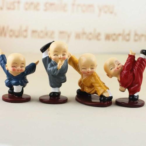 Bộ tượng 4 chú tiểu Thiếu Lâm nhiều màu