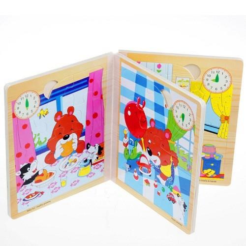 Bộ lắp ghép sách 3 chiều bằng gỗ cho bé