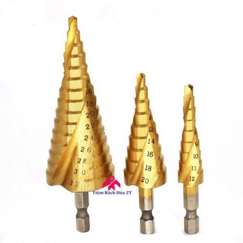 Bộ 3 mũi khoan tháp xoắn ốc titanium đường kính từ 4mm - 32mm - khoan sắt, tôn