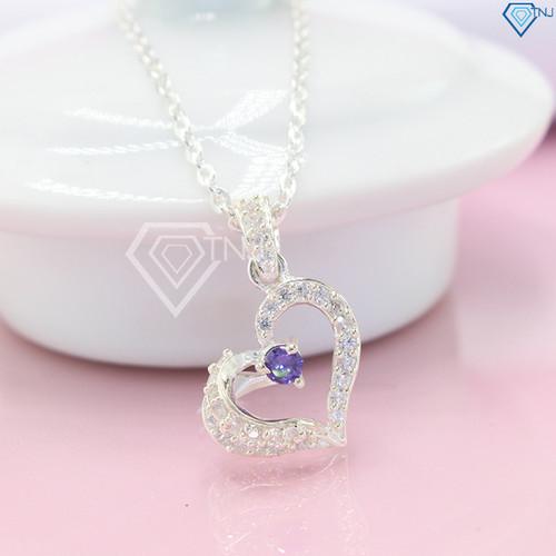Dây chuyền bạc nữ hình trái tim đính đá tinh tế DCN0233 - Trang Sức TNJ