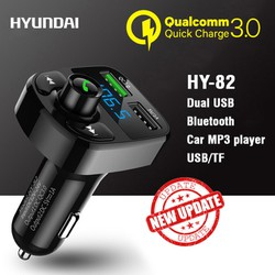 Tẩu nghe nhạc trên ô tô kiêm sạc điện thoại 2 cổng cao cấp Hyundai HY-82 công nghệ QC 3.0