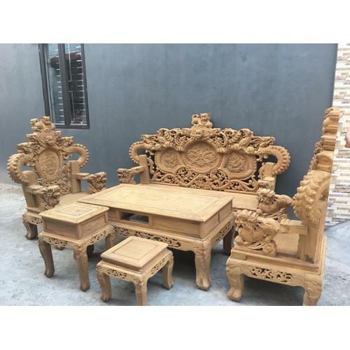 Bộ bàn ghế trạm nghê đỉnh tay khuỳnh vách chữ C gỗ cẩm vàng