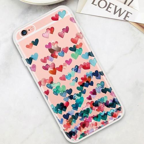 Ốp lưng hình những trái tim nhiều màu Iphone 5-5s-5se-6-6s-6 plus-6s plus-7-7 plus-8-8 plus-X-XS