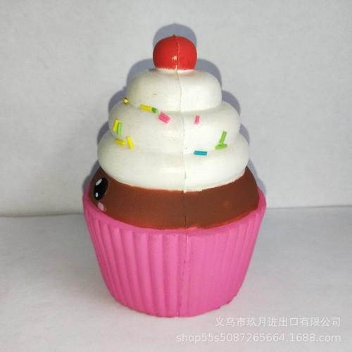 squishy bánh kem hồng nâu trắng