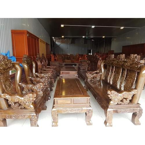 Bộ bàn ghế nghê 3 đầu gỗ mun đuôi công