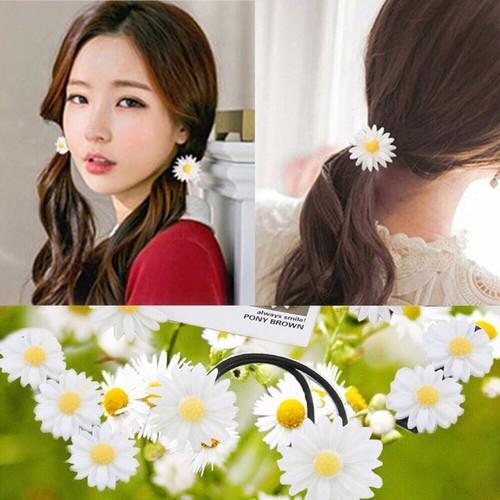 Thun cột tóc hình hoa cúc họa mi xinh xắn - Chun tóc nữ