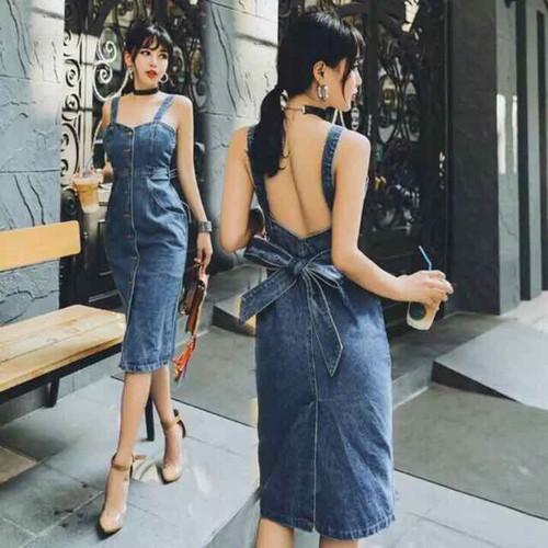đầm yếm jean 2 dây thắt nơ hở lưng bao đẹp y hình