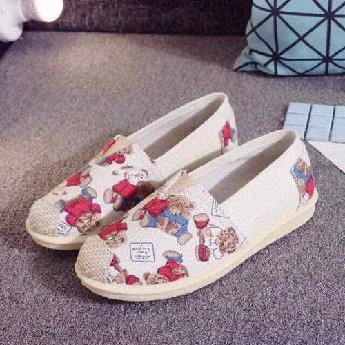 Giày lười nữ hình gấu hồng xinh xắn