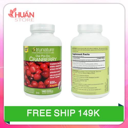 Viên uống trunature cranberry hỗ trợ đường tiết niệu|vien uong trunate cranberry xuất xứ Mỹ 140 viên