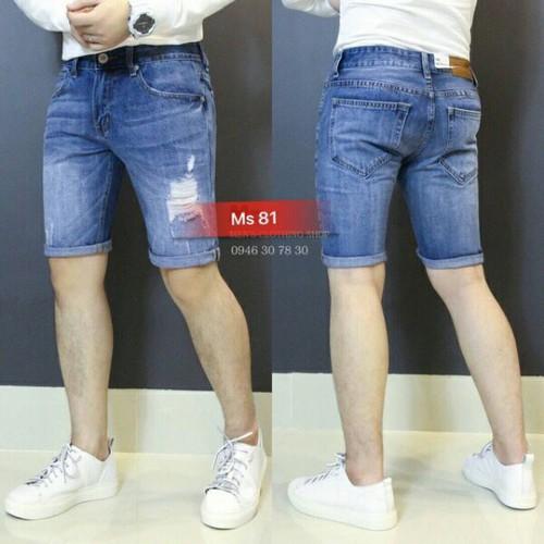 Quần shorts jean nam phá cách
