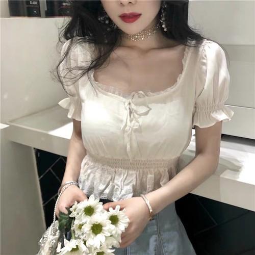 áo sơ mi nữ tay ngắn cổ vuông style ulzzang Hàn Quốc giá rẻ