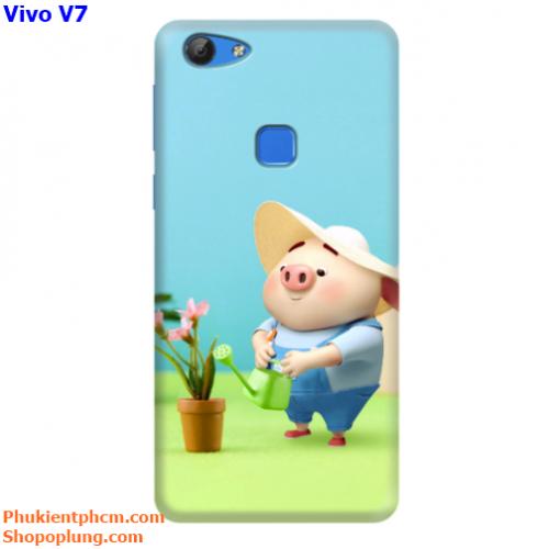 Ốp lưng Vivo V7 in hình Heo đáng yêu M86 - M133