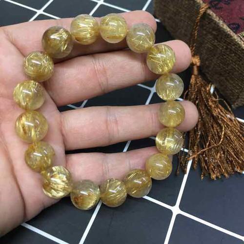 Vòng Đá Thạch Anh Tóc Vàng 12li Tay Nam