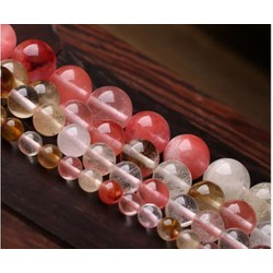 Đá tinh thể trắng hồng 8ly- dây 48 viên