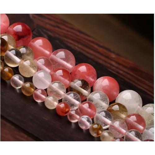 Đá tinh thể trắng hồng 12ly- dây 38 viên
