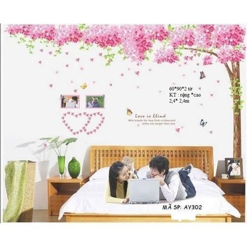 Decal trang trí PHÒNG cây hồng siêu hót