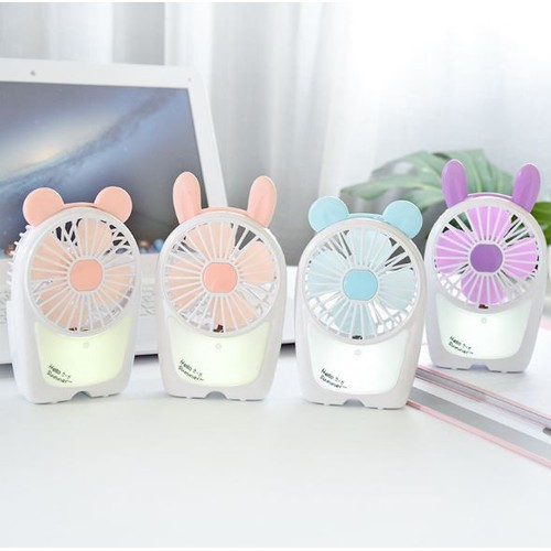 Quạt tích điện - Quạt cầm tay - Quạt để bàn thỏ đáng yêu