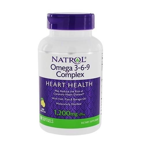 Viên uống bổ tim mạch Natrol Omega 3-6-9 Complex, Lemon Flavor, 1,200 mg – 90 viên