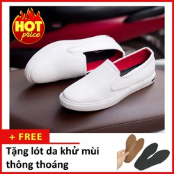 Giày Slip On Nam Aroti Đế Khâu Chắc Chắn Phong Cách Đơn Giản Màu Trắng - M498-TRANG|090419