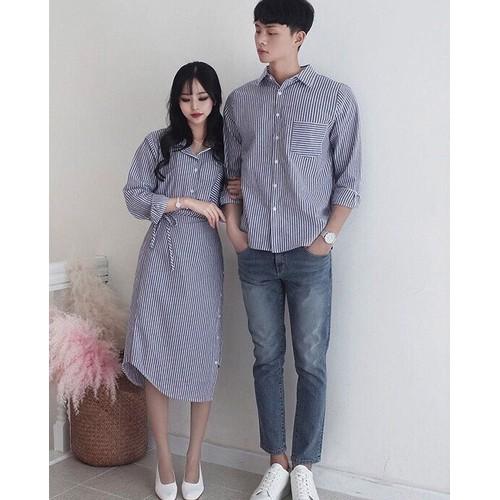 SET áo váy sơ mi cặp cao cấp, đồ đôi nam nữ màu xanh sọc Hot 2019 - AVD172