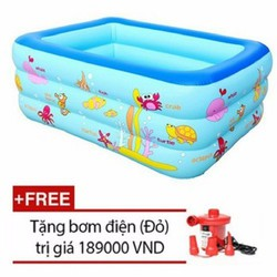 Bể phao bơi 3 tầng cho bé và gia đình cỡ lớn 2m1 đáy chống trượt+ tặng bơm hơi điện mini
