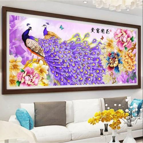 Tranh Thêu Chim Công 195x83cm