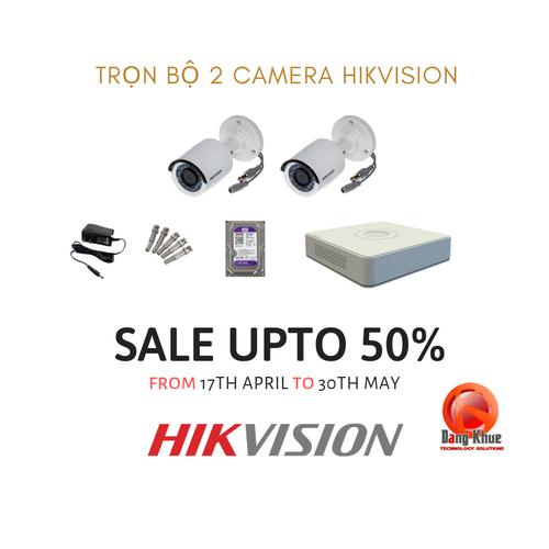 Bộ kit 2 Camera HIKVISION ngoài trời 1MP TẶNG kèm ổ cứng Tím chuyên dụng 500GB