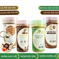 Combo 4 loại bột hòa tan cacao sữa, matcha sữa, cà phê sữa, cacao sữa dừa Light Coffee - Hũ 90g Tặng Móc khóa