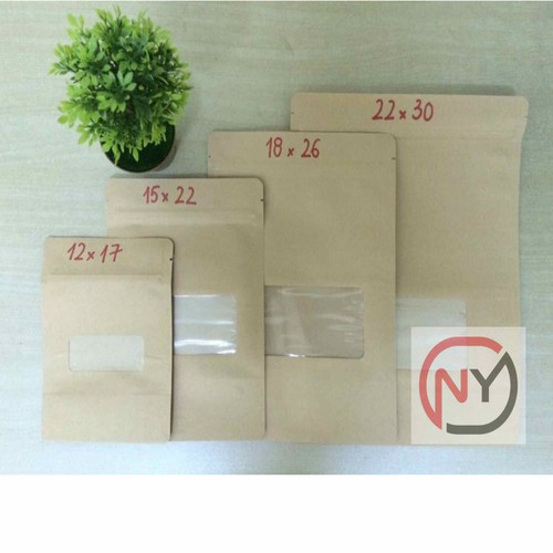 1kg size 18x26  túi Zipper giấy kraft có cửa sổ