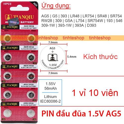 PIN nhỏ đầu đũa  LR48 LR754 SR48 SR754 AG5 G5 393 RW28 309 G5A L754 SR754W 193 TIANQIU 1 vỉ 10 viên