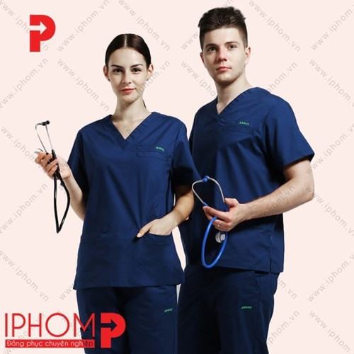 Quần áo y tế quần áo phòng mổ nam nữ màu tím than - mẫu hot 2019