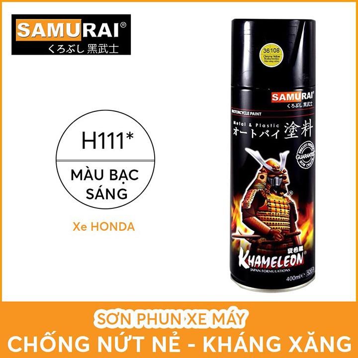 H111 _ Chai Sơn Xịt Sơn Xe Máy Samurai H111 sơn màu bạc sáng _ silver _ shop uy tín, giao nhanh 2